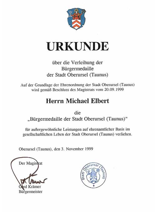 Urkunde Michael Elbert